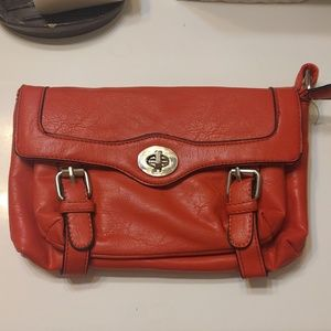 Red Faux Leather Buckle Style Crossbody Bag